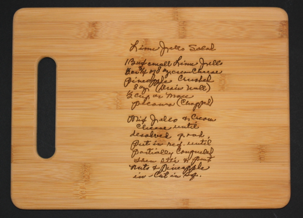 Cutting Board with a Scanned recipe